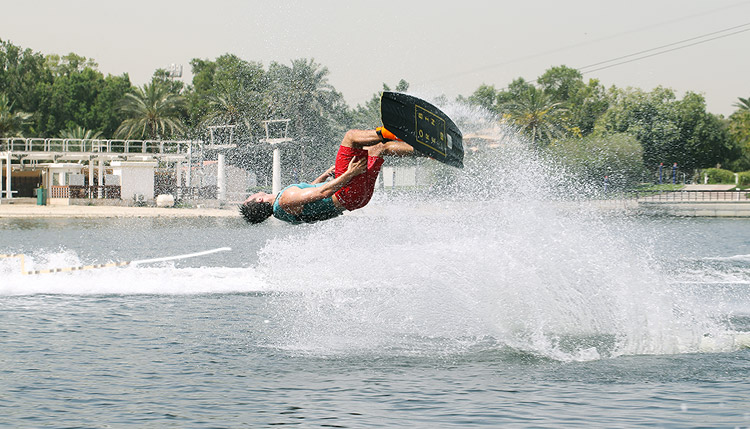 wakeboarding session
