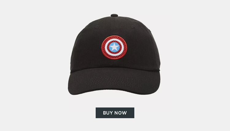 Match your hero style with the Captain America cap featuring his shield  embroidered on the front. 70f5354168f